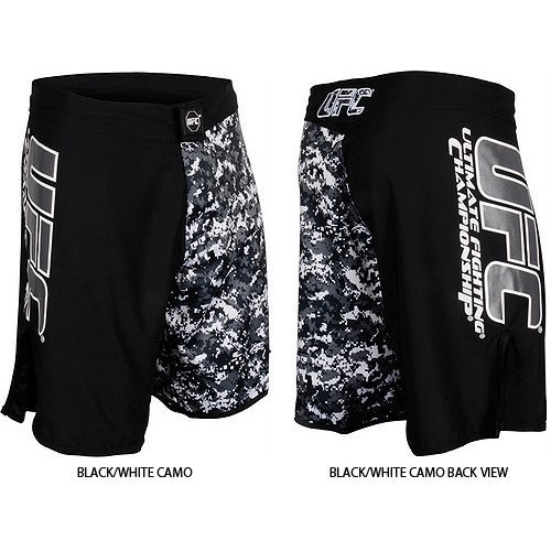 UFC Official MMA/Sports Black Grey Urban Street Camo Fight Shorts – Black/White Camo / Size 36