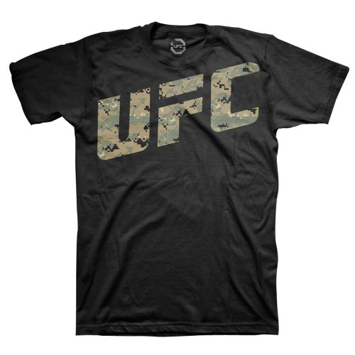 UFC Men's Camo T-Shirt (Black, Large)