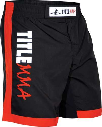 TITLE MMA Vertical Quad Flex Fight Shorts, Black/Red, Small