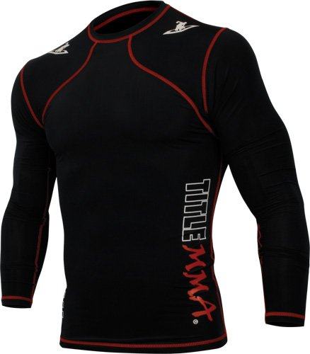TITLE MMA Quad-Flex Reaper Long Sleeve Rash Guard, Black/Red, Medium