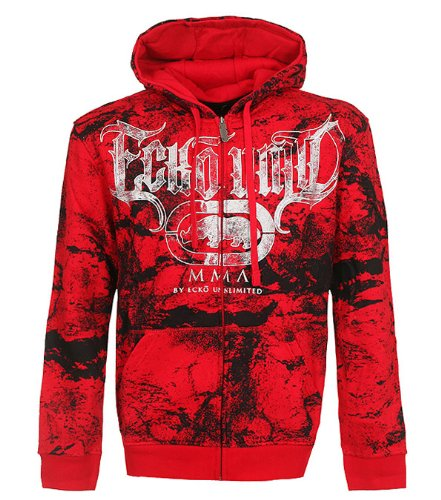 Marc Ecko Unltd. Mens MMA Burst Hoodie, XXX-Large, True Ecko Red