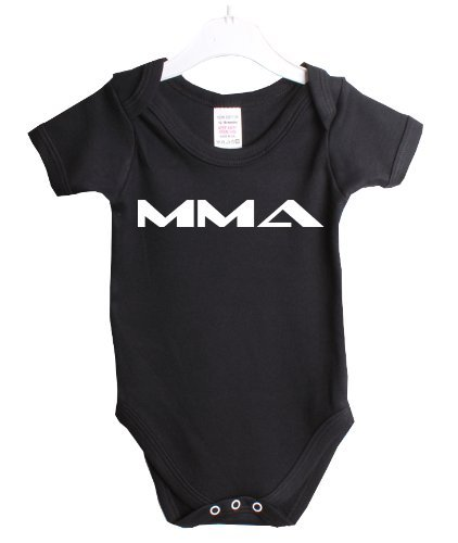 Mma Mixed Martial Arts Ufc Babygrow Baby Suit Gift 3/6 Months Black Vest White Print-3/6 Months Black-White Print