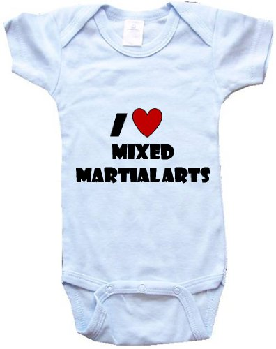 I LOVE MIXED MARTIAL ARTS – BigBoyMusic Baby Designs – Blue Onesie / Baby T-shirt – size Small (6-12M)