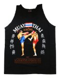Muay Thai Kick Boxing MMA Mens Black Singlets Tank Tops T-Shirts (L)