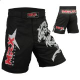 Mrx MMA Fight Shorts Stretch Penals Black with Dragon (Black, X-Large (34.5