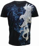 Konflic NWT Men's Eagle & Sword Graphic MMA Muscle T-shirt, Black, M