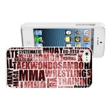 Apple iPhone 5 5S Hard Back Case Cover Color Mixed Martial Arts Jiu Jitsu MMA Text (White)