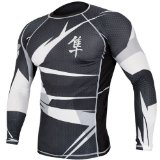 Hayabusa Metaru 47 Silver Rashguard Long Sleeve Shirt, Medium, Black/White