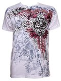 Konflic Men's Men's Cross with Wings Graphic Designer MMA Muscle T-shirt White M White