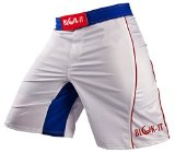 Fight Shorts by Blok-IT - These Boxing and MMA Shorts are Competition Grade, Yet Flexible and Comfortable for Everyday Training - Great for all Martial Arts, Surfing, and Skateboarding (White & Blue, Large)