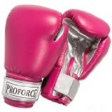 ProForce® Leatherette Boxing/Mixed Martial Arts/Karate Gloves - Fuchsia & Silver