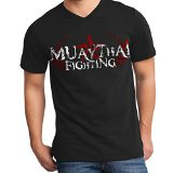 Muay Thai Fighting Stryker Adult V Neck Shirt MMA UFC Tapout BJJ NHB (2XL, Black / Red White Logo)
