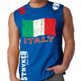 MMA Customs Italy Italian Flag Stryker Black MMA Soccer Sleeveless T-shirt (Large, Royal Blue)