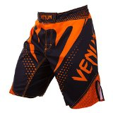 Venum Hurricane Fight Shorts, Black/Neo Orange, X-Large