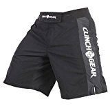 CLINCH GEAR - Pro Series - MMA Shorts, WOD Shorts, Fight Shorts, Black/Black/White, 32