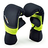 MaxxMMA Neoprene Washable Heavy Bag Gloves - Boxing Punching Training (Neon Yellow, S/M)