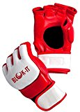 BLOK-IT: Mixed Martial Arts Gloves for Sparring, Grappling, and Training . (White & Red, Small)