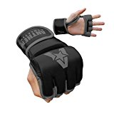 NEW COLORS! Anthem Athletics PREDATOR MMA Gloves - Training, Kickboxing, Striking, Muay Thai, Grappling, UFC, Boxing, BJJ, 100% Highest Grade Leather - Black/Grey - X-Large