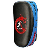 Flexzion Kicking Strike Shield - Curved Pad Boxing Punching Training Mitts Arm Focus Target for Martial Arts Taekwondo Karate Muay Thai UFC MMA Sanda Drill PU Leather (Blue)