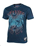 Xzavier Men's Cut Edge Vintage Burnout Acid Wash Graphic Shirt XXLarge Teal Blue