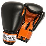 ProForce® Leatherette Boxing/Mixed Martial Arts/Karate Gloves - Black/Orange