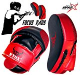 Wyox Curved Focus Pads Mitts Hook Jab Punch Bag Kick Boxing Muay Thai MMA USA (Red)