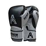 NEW COLORS! Anthem Athletics STORMBRINGER Sparring Gloves - Muay Thai, Boxing, Striking, Kickboxing - 100% Premium Leather - Black & Grey - 16 oz.