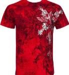 TG327T Vines and Fleur De Lis Metallic Silver Embossed Short Sleeve Crew Neck Cotton Mens Fashion T-Shirt – Red / Medium