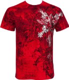 TG327T Vines and Fleur De Lis Metallic Silver Embossed Short Sleeve Crew Neck Cotton Mens Fashion T-Shirt - Red / Medium