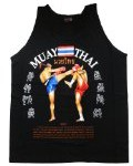 Muay Thai Kick Boxing MMA Mens Black Singlets Tank Tops T-Shirts (XL)
