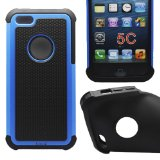 Cocoz® New Releases Blue /Black Hard Soft High Impact Armor Case Combo Cover for Apple Iphone 5c At & T Verizon Sprint Dust Stylus (Orange/black Pc + Silicone)-r001