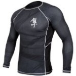Hayabusa Metaru 47 Silver Rashguard Long Sleeve Shirt, Large, Black