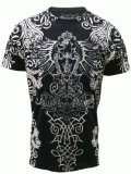 Konflic NWT Men's All-Over Tribal Graphic MMA Muscle T-shirt, Black, X-Large