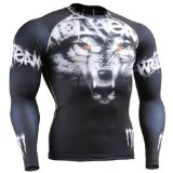 Fixgear Mens Womens MMA Running Wolf Printed Compression Shirt Long sleeve Black S