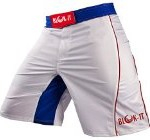 Fight Shorts by Blok-IT – These Boxing and MMA Shorts are Competition Grade, Yet Flexible and Comfortable for Everyday Training – Great for all Martial Arts, Surfing, and Skateboarding (White & Blue, Large)