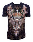 Pinnacle Metallic Silver Embossed Crown Muscle T-shirt Black Silver 2XL