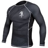 Hayabusa Metaru 47 Silver Rashguard Long Sleeve Shirt, Medium, Black