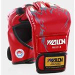 Half Finger Boxing Gloves Sanda Fighting Sandbag Gloves MMA UFC (Red)