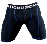 Diamond MMA - Compression Shorts with Built-in Jock Strap Supporter with Athletic Cup Pocket for Sports, Large