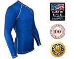 Rash Guard for Men Compression and Base Layer Shirt,  Blue, Large