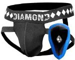 Athletic Cup Groin Protector & Four-Strap No Shift Jock Strap System for Sports, Large