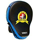 Cheerwing PU Leather MMA Boxing Mitt Punching Mitt Target Focus Punch Pad Training Glove For Karate Muay Thai Kick(Blue)