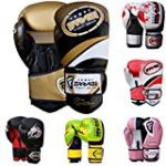 Farabi Pro Fighter Boxing Gloves Sparring Gym Bag Punching Focus Pad Mitts (Gold/black, 16Oz)
