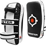 Meister XP2 Professional Curved Thai Pads for Kickboxing & MMA – X-Thick Cowhide Leather – Black – Pair (2 Pads)