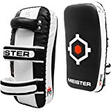 Meister XP2 Professional Curved Thai Pads for Kickboxing & MMA - X-Thick Cowhide Leather - Black - Pair (2 Pads)