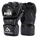 Brace Master MMA Gloves UFC Gloves Leather More Paddding for Men Women Knuckle Wrist Protection, Fingerless Sparring Gloves for Training, Kickboxing, Muay Thai, Boxing, Punching (Black, Medium)