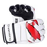 Cheerwing Boxing Gloves MMA UFC Sparring Grappling Fight Punch Mitts Leather Training Gloves, White