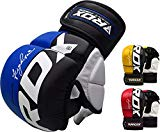 RDX Maya Hide Leather Grappling MMA Gloves Cage UFC Fighting Sparring Glove Training T6,Blue,Large